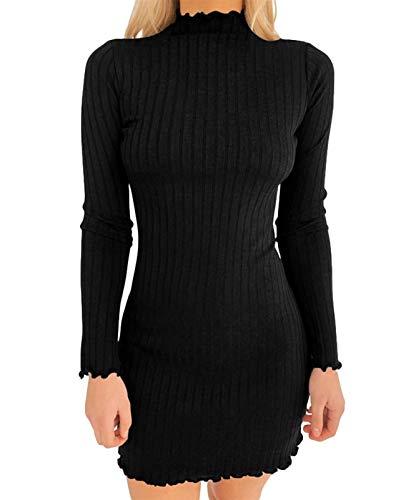 abito donna aderente AMABILEMIA Vestito Elegante Donna in Maglia Mini Abito Sexy Aderente Vestito da Sera Corto Nero con Maniche Lunghe Collo Alto AM927 (Nero