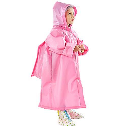 KESYOO 1 St Dikker Regen Poncho Jas Kinderen Regenjas Elastische Mouw Regenkleding Met Schooltas Hoes en Capuchon Voor Kinderen Buiten-Roze