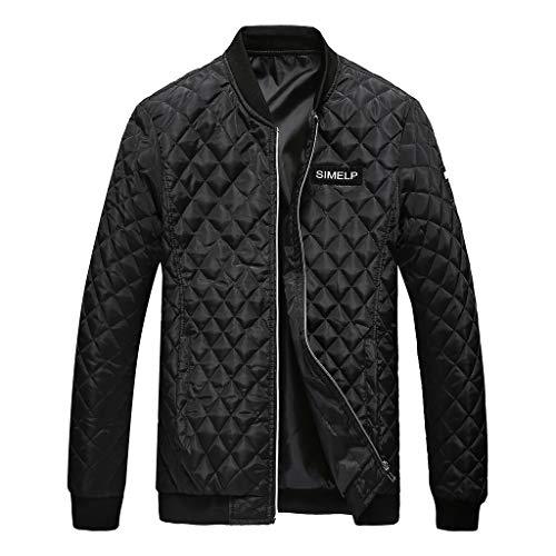 Houshelp Men's Jacket Outdoor Sports Windproof Mountain Coat Puffer Coat Insulated Windproof Quilted Jacket Overcoat Black