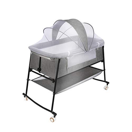 JIN GUI Faltbare freistehende Wiege, tragbare, atmungsaktive Babywiege mit Moskitonetz und Matratze für Bett/Wiege/halbe Liege/Ausführung