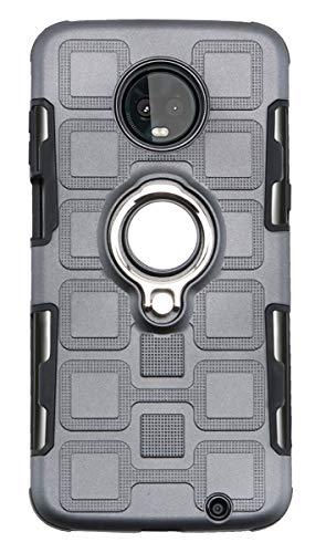 Capa para Moto Z3 Play, YINCANG híbrida PC + capa de silicone TPU macio com suporte de anel giratório de 360° e capa protetora de placa de metal com sucção magnética para Motorola Moto Z3 Play 6 polegadas cinza