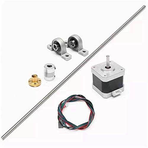 YELLAYBY Woodworking Tools T8 Lead Screw Rod with Stepper Motor and Mounted Ball Bearing Set 500mm Durable Tools Assortment
