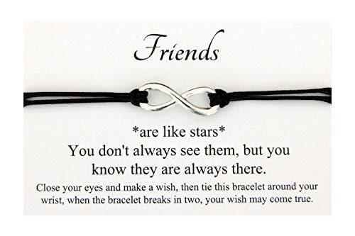 Friends are like star Handmade Infinity Charm Wish bracelet,Best friend...