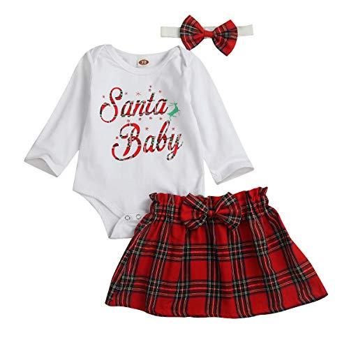 Geagodelia Strampler für Neugeborene, Babykleidung, langärmelig, kariert, Rock, Stirnband, 3-teiliges Set Gr. 0-6 Monate, Weiß/Rot