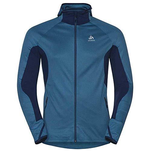 Odlo Blaze Sweat-Shirt à Capuche zippé en céramique pour Homme XL Poseidon/Blue Jewel/Stripes