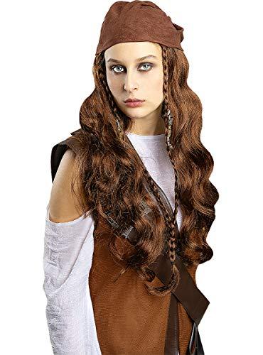 Funidelia | Piraten Perücke braun für Damen  Korsar, Seeräuber - Bunt, Zubehör für Kostüm