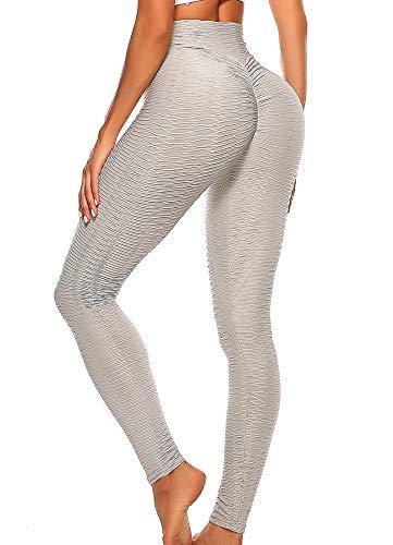 INSTINNCT Damen Slim Fit Hohe Taille Sportshort Lange Leggings mit Bauchkontrolle #1 Grau M
