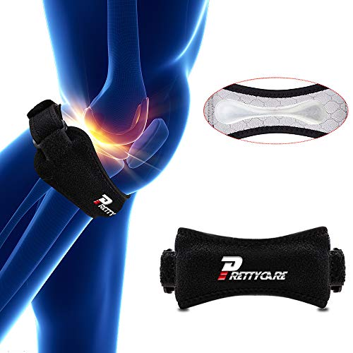 PrettyCare Knee Support Patella Strap (Unique Silicon Material with 2 Pack by Fully Adjustable Tendon Brace Band Pad - Pain Relief for Running, Arthritis, Jumper, Tennis, Basketball, Tendonitis