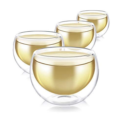 Teabloom Set 4 Tazze in Vetro Doppia Parete 100 ml - Tazze da tè e caffè in Vetro Borosilicato Termoresistente