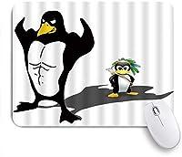 EILANNAマウスパッド 面白い漫画の子供筋肉ペンギンパパフィットネス子供ハンター ゲーミング オフィス最適 高級感 おしゃれ 防水 耐久性が良い 滑り止めゴム底 ゲーミングなど適用 用ノートブックコンピュータマウスマット