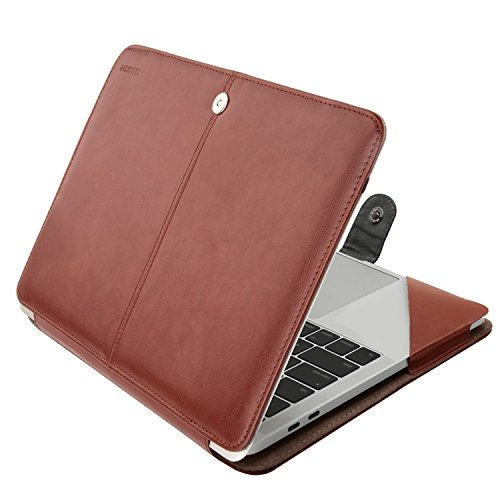 MOSISO MacBook Pro 15 inch Case 2019 2018 2017 2016 Release A1990 A1707, PU Leather Book Folio Protective Stand Cover Sleeve with Clear Strip Compatible with MacBook Pro 15 inch , Brown