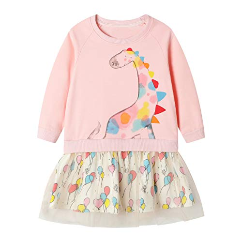 Baby Girl Christmas Dress,Tronet Childrens Long Sleeve Christmas Cartoon Deer Print Dotted Mesh Tutu Skirt Dress