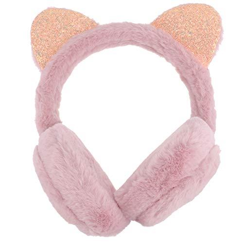 PRETYZOOM Ohrenwärmer für Mädchen, für Urlaub, Winter, Outdoor, Sport, niedliches Cartoon-Katzenmotiv, Dunkelrosa