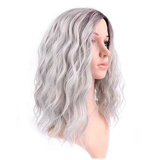 FAELBATY 14 Inch Curly Grey Wig Short bob Wigs Shoulder Length side part Women's Short Wig ombre color Synthetic Cosplay…