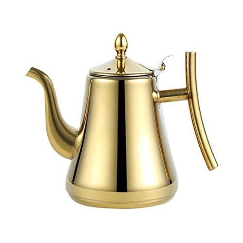 Camping Cafetera, Tetera de Tetera de Acero Inoxidable, Tetera de té, cafetera con Apariencia Elegante del Filtro, Adecuado para la Oficina del Restaurante (Color : Dorado, tamaño : 2L)