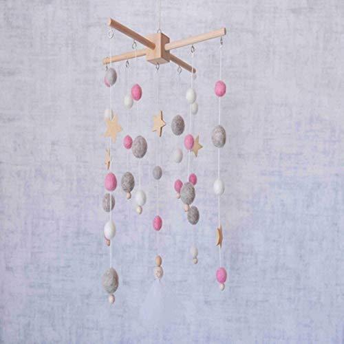 Piero houten baby sterren rammelaars mobiele wollen ballen windgong bel speelgoed babykamer bed hangende tent decor verpleging kinderen baby speelgoed, roze