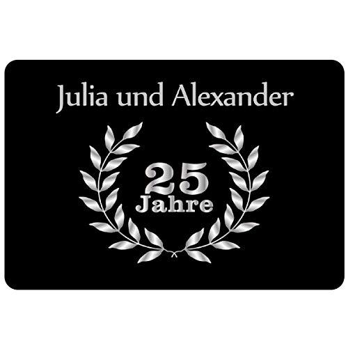 Geschenke 24: Personalisierte Fußmatte Silberhochzeit - Fußmatte mit Namen Bedrucken - EIN originelles Geschenk zum 25. Hochzeitstag