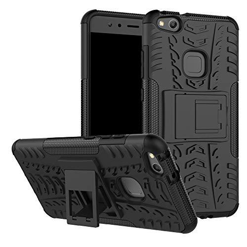 LFDZ Huawei P10 Lite Custodia, Resistente alle Cadute Armatura Robusta Custodia Shockproof Protective Case Cover per Huawei P10 Lite Smartphone (con 4in1 Regalo impacchettato),Nero