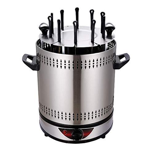 Unbekannt Vertikaler Rotisserie-Bräter-Ofen Intelligenter elektrischer BBQ-Grill Rauchloser automatischer rotierender Kebab-Maschinen-Countertop-Edelstahl-Kabob-Grill, 1400W - 6/8/10 Schnüre