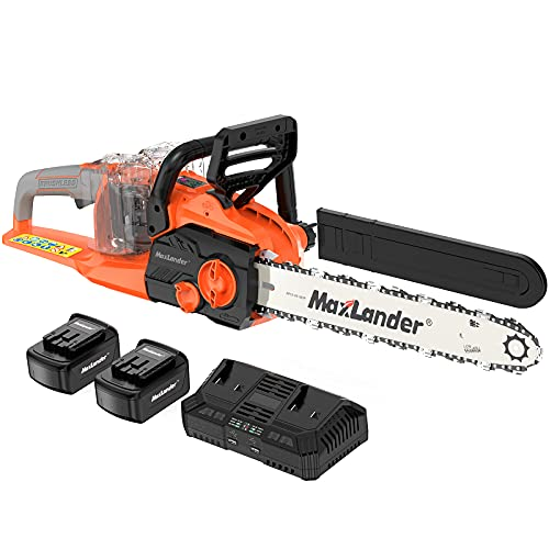 MAXLANDER 40V Cordless Brushless Chainsaw 16-Inch Electirc Battery Powered with 4.0Ah Lithium Battery and Charger