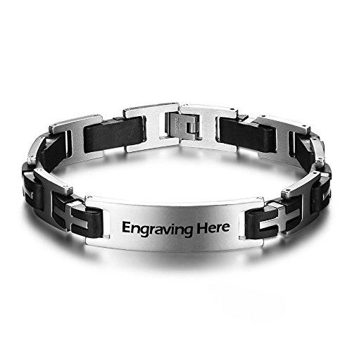 Personalized ID Men Bracelets Stainless Steel Engraved Bangle Bracelets for Mens Jewelry for Boyfriend (BA1366XQ)