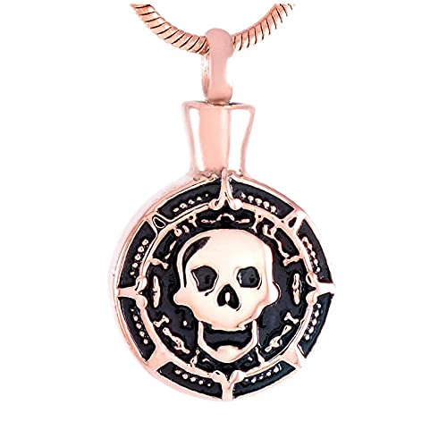 Ysain Collar Urna para Cenizas Joyería De Recuerdo para Hombre Collar De Cremación Skeketon De Acero Inoxidable para Cenizas, Colgante De Urna Conmemorativa De Cabeza De Calavera