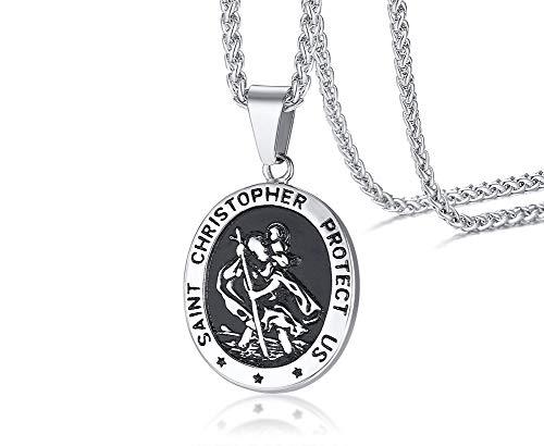VNOX Acero Inoxidable Vintage Saint Christopher Protect Us Medalla Ovalada Medallón Colgante Collar Joyería Religiosa para Hombres Mujeres,Cadena Libre,23'