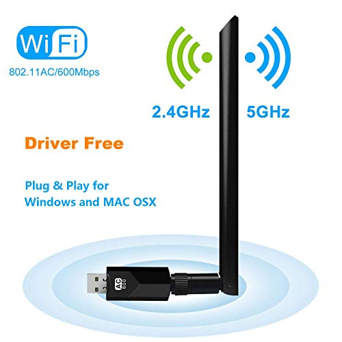 600Mbps Wireless USB WiFi Adapter, FayTun USB Network Dongle Adapter, Dual Band 2.4GHz/150Mbps+5GHz/433Mbps, 802.11 ac/a/b/g/n High Gain Antenna Network LAN Card for Windows XP/7/8/10,MAC,OSX