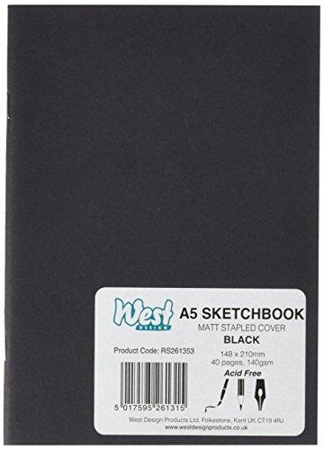 West Design RS261353 1 - Cuaderno de dibujo (tamaño DIN-A5, encuadernado), color negro