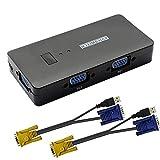 GINTOOYUN VGA KVM Switch 2 porte, VGA 2 in 1 Out Switch Selector, VGA Video Sharing Adapter commutatore manuale con 4 hub USB, risoluzione 1920 * 1440, per 2 PC, monitor, stampante, tastiera, mouse