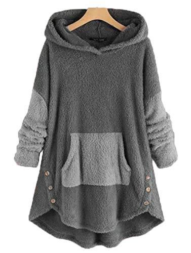 Wsgyj52hua 2020 Herbst Und Winter Damen EuropäIschen Und Amerikanischen Stil Parkett PlüSch Frauen Einfarbigen Hoodie