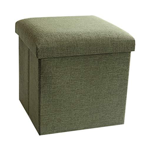 LINGZHIGAN Linge de Coton Pouf Pliable Ottoman Ménage Boîte De Rangement Tabouret De Rangement -30 * 30 * 30cm La Plus Haute Charge Est 100kg LINGZHIGAN (Color : Light green)