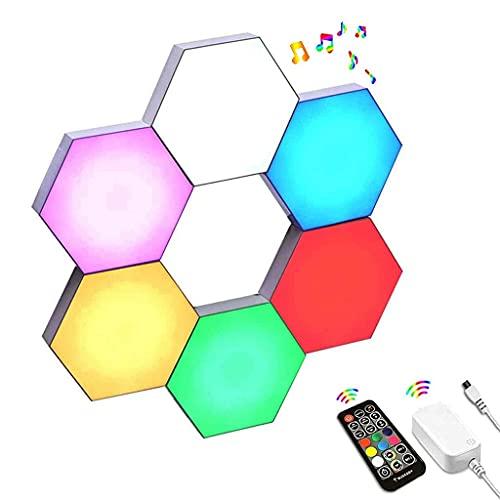 Luces de Juego de Pared hexagonales LED Inteligentes, con Control Remoto RF, sincronización de música, Paneles de Luces cuánticas modulares de luz Nocturna montada en la Pared para Bricolaje, 16 mil