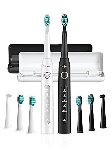 Elektrische Zahnbürste Fairywill D7 Doppelpack - 8 Aufsteckbürsten 2 Reisekoffer enthalten, 5 Putzprogamm mit 2 Minuten Timer, Wiederaufladbar IPX7 Wasserdicht Schall Electric Toothbrush