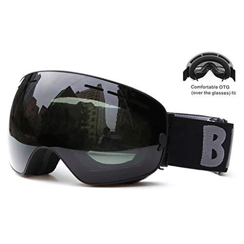 N/A/ Gafas de esquí desmontables antivaho UV400 con lente de visión amplia, gafas grandes para esquí, snowboard, motos de nieve, patinaje para hombres y mujeres
