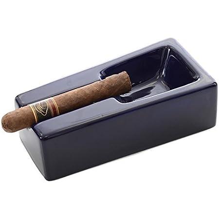 Amazon Com Mantello Cigars Cobalt Blue Ceramic Cigar Ashtray For Patio Outdoor Use Home Kitchen