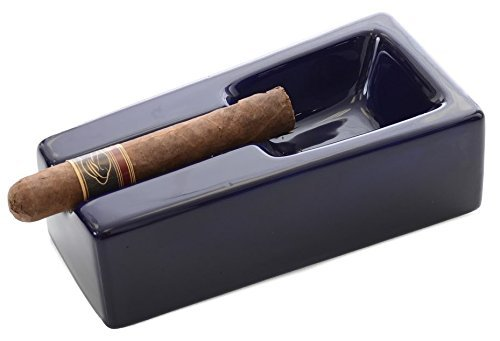 Mantello Cigars Cobalt Blue Ceramic Cigar Ashtray for Patio/Outdoor Use