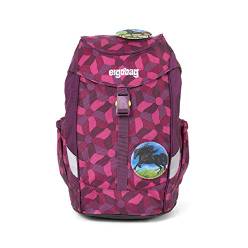 Ergobag Mini NachtschwärmBär, ergonomischer Kinderrucksack, Kindergarten Vorschule, DIN A4, 10 Liter, 500 g, Lila Blumen