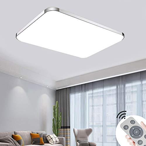 Deckenlampe dimmbar 72W LED Deckenleuchte Ultra dünn für Küche Balkon Korridor Büro Esszimmer Wohnzimmer (Silber 3000-6500K)