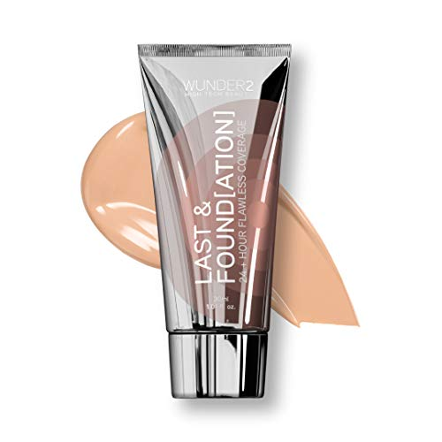 WUNDER2 LAST & FOUNDATION Makeup 24+ Hour Liquid Foundation Full Coverage Waterproof with Hyaluronic Acid, Color Sand