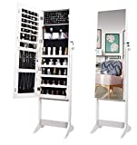 OUTDOOR DOIT Jewelry Organizer Jewelry Cabinet Standing Jewelry Box with Full Body Mirror and Large Storage Lockable...