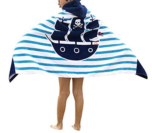 Ymwave Poncho Serviette de Bain avec Capuche Enfant 100% Coton Poncho à Capuche Les Garçons Les Filles Bande Dessinée Peignoir À Capuche 127 * 76cm (Bateau pirate)