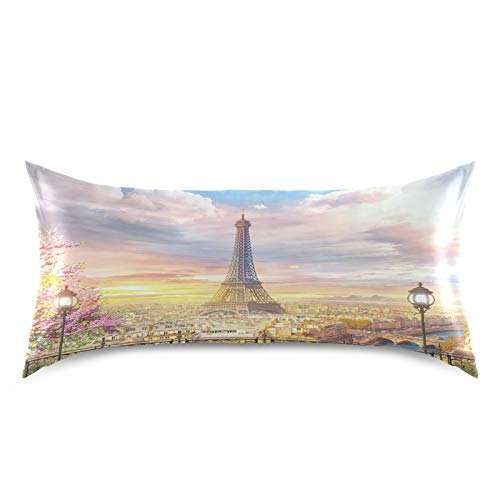 HaJie Funda de almohada de satén de la Torre Eiffel de París con diseño de flor de cerezo, 100% poliéster, funda de almohada para cabello y piel, tamaño estándar 50,8 x 101,6 cm, 1 unidad