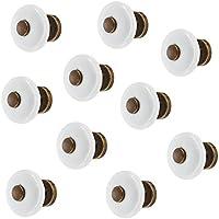 Tirador para muebles (latón marrón durchgerieben–Porcelana Blanco Muebles botón Vintage Antiguo Armario Pomo para cajones–H1350  30mm de diámetro, muebles herrajes de gedotec®