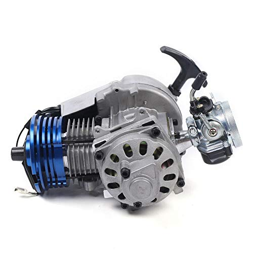Futchoy 49CC High-Performance Racing Complete Engine, Two-Stroke Racing Engine Motor 6-Tooth 25H Sprocket With Third Bearing Support for 47CC/49CC/50CC Pocket Cars, Mini Off-Road Vehicles