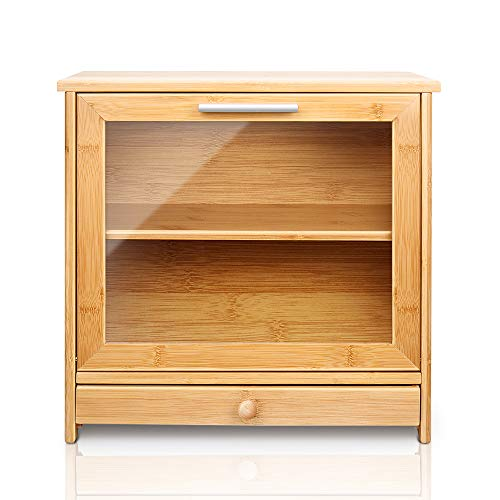 Natural Bamboo Bread Box, 2 Adjustable Layer Bread Storage Bin with Clear Front Window and Tool Drawer, 15.7' x 15' x 8.7' Large Capacity Food Keeper for Kitchen Counter