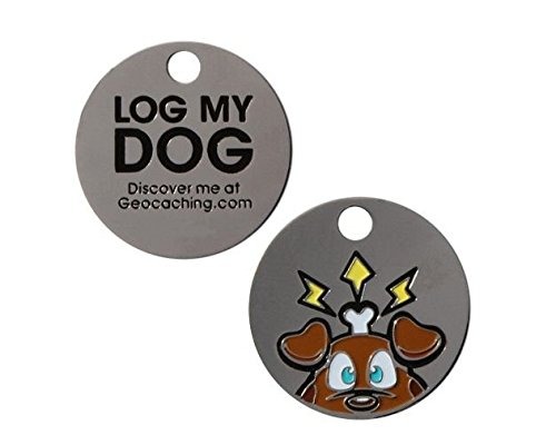 Log My Dog Tag Travel Tag®+ kostenloses Logbuch Silber Hundehalsband Anhänger Geocaching Geschenk Trackables, TB, Coin, Coins, mit Travelbug