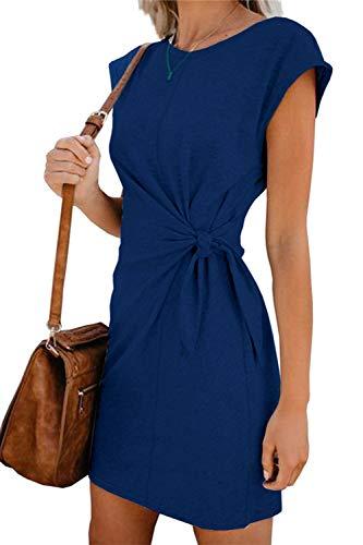 Sommerkleid Damen Elegant Casual Kurzarm Einfarbig Rundhals Party Kurze Kleider Strandkleid Minikleider (328-Blau, M)