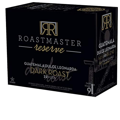 Roastmaster Reserve Dark Roast Coffee (Guatemala Dulce Leonarda) 22ct. Limited Batch Single Origin Solar Energy Produced Recyclable Dark Roast Coffee Pods, Batch 006, KCup Compatible
