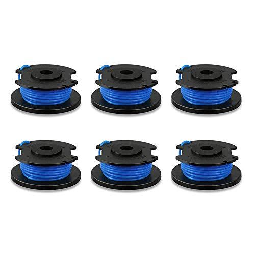 NNuodekeU AC14RL3A Bobine de rechange avec capuchon 522994001 pour coupe-bordures sans fil Ryobi One+ 24 V, 18 V et 40 V, bobine de remplacement automatique 0,065 po (6 bobines, 1 capuchon)